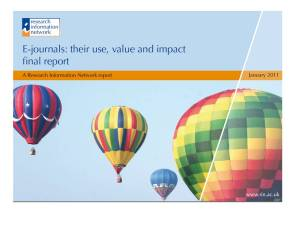 RIN Ejournals: their use, value and impact report